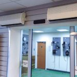 Two 830 overdoor heaters installed at an electrical wholesalers