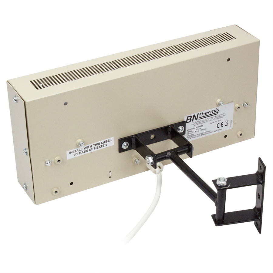 Rear view of a 1.5kW ceramic heater with bracket extension piece for 'up and down and side to side' angle adjustment