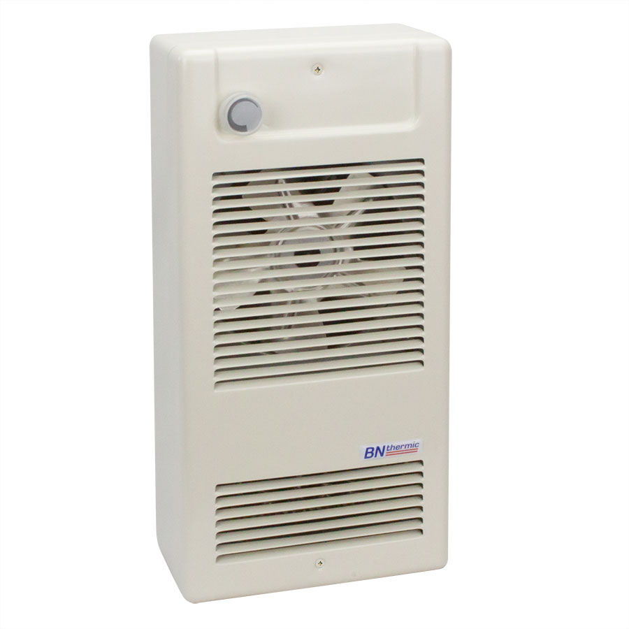 Compact heavy duty fan heater with optional surface box and integral thermostat