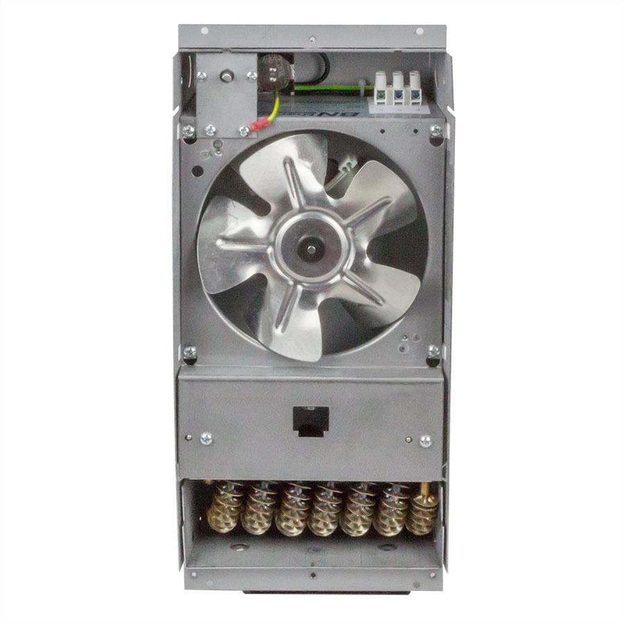 Compact heavy duty fan heater with cover removed showing fan and heating element