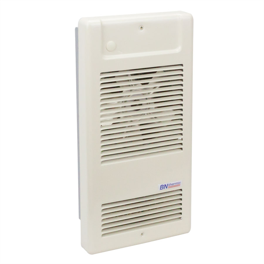 Compact heavy duty fan heater for recessed mounting
