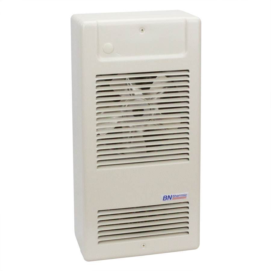 Compact heavy duty fan heater with optional surface box