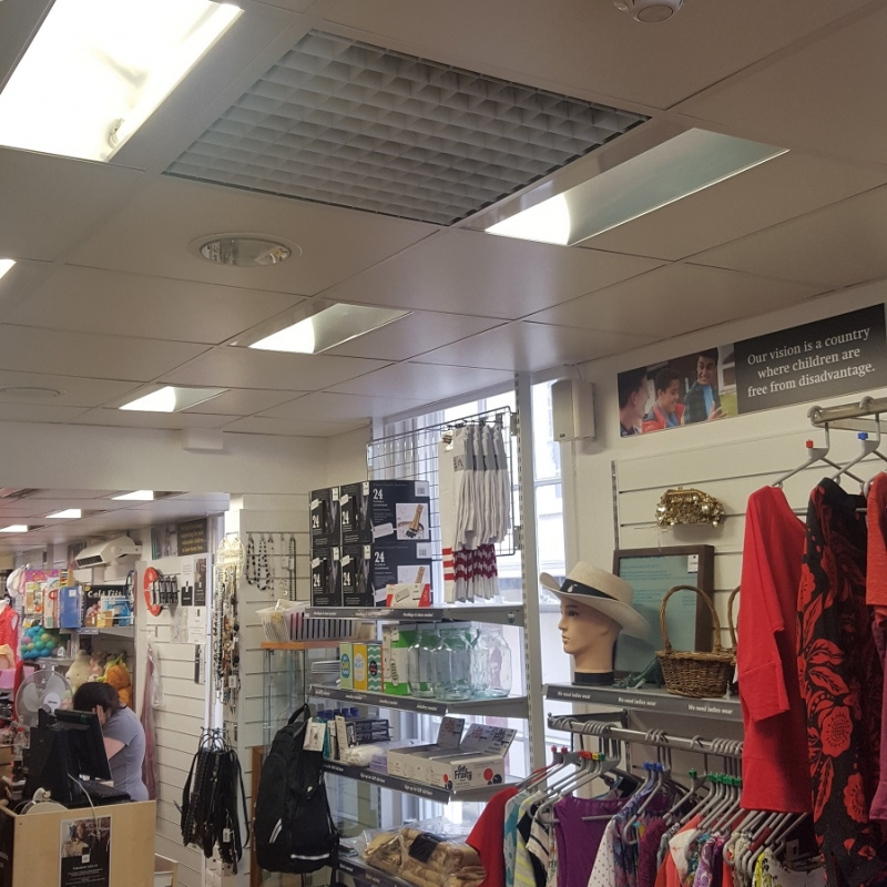 An SCHG-30 creating a warm environment in a charity shop in Canterbury