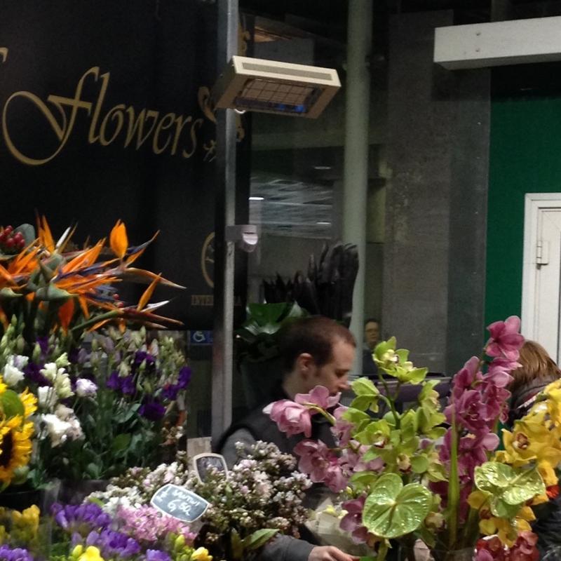A CH ceramic heater keeping a florist warm