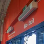 HCA-09s installed above an entrance at a DIY store