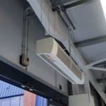 HCA air curtains can easily be suspended on drop rods