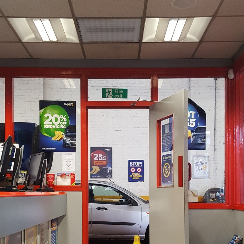 AN SCH fan heater provides simple and reliable heating in a car service reception area