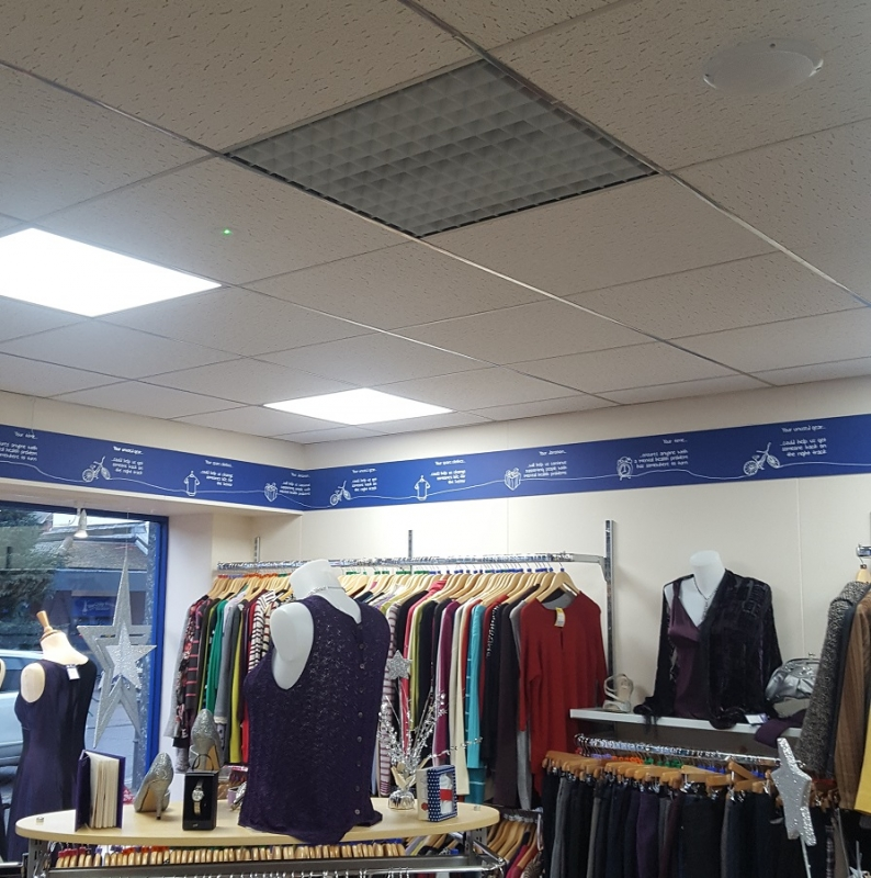 Ceiling heaters free up wall space and are idea for shops