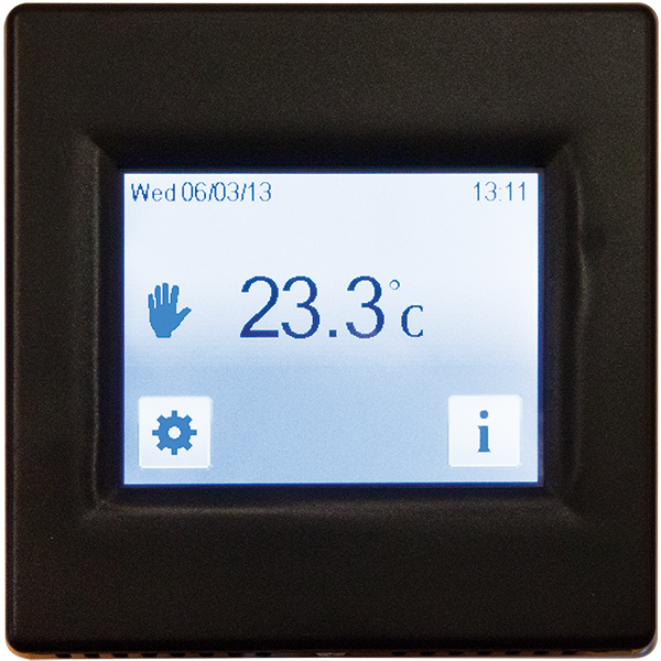 T16CB Black touch screen thermostat