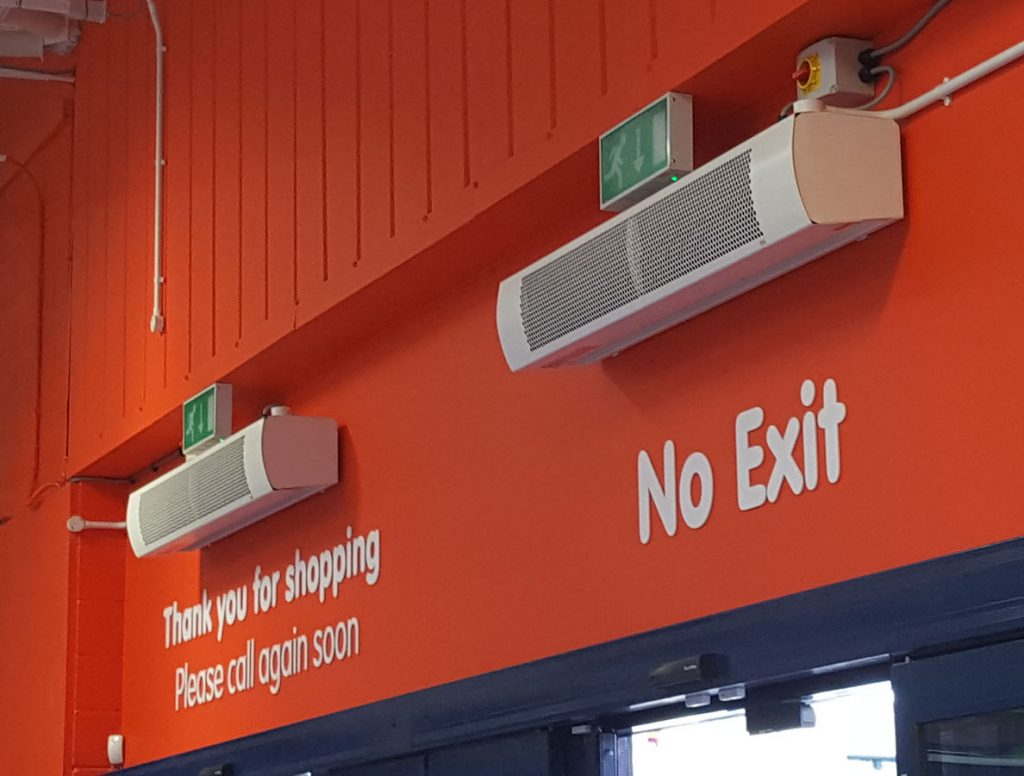 HCA air curtains reducing heating costs in a DIY store
