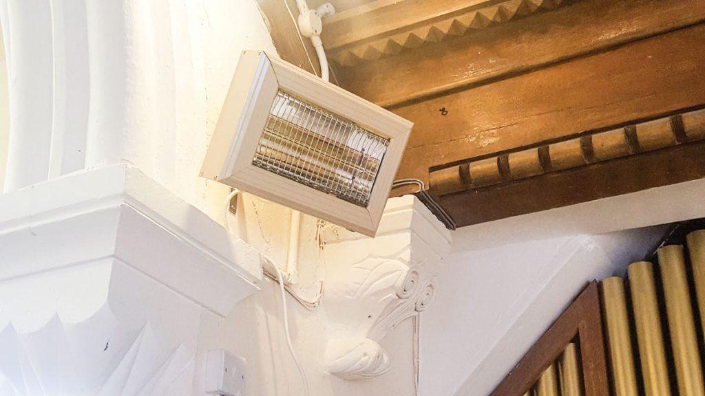 HN halogen heater heating the chancel in a Somerset Church
