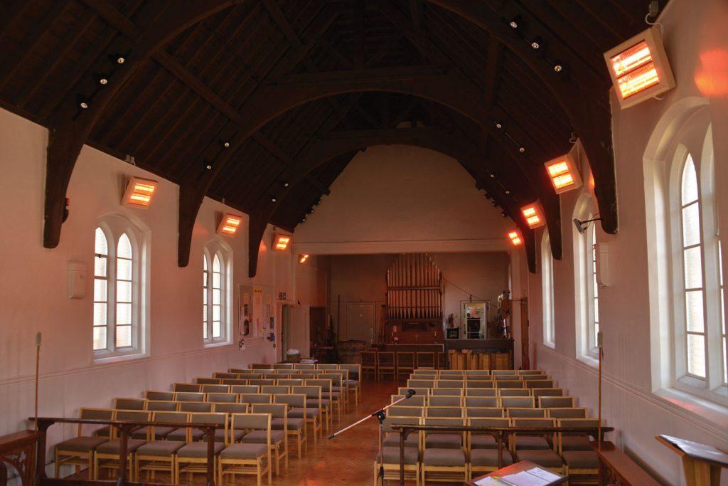 HN2-3000G shortwave heaters providing instant economical heating in St Stephen's Church, Barnet