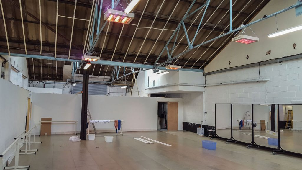 Four 6kW halogen heaters installed at a dance school