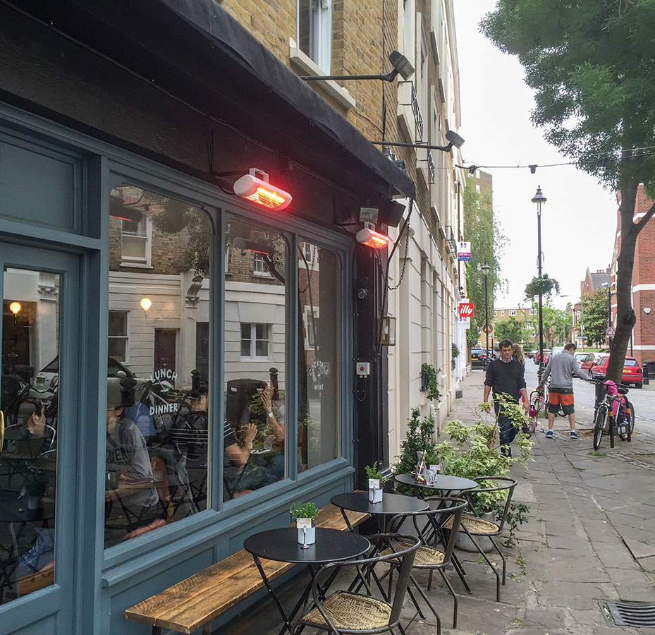 A Battersea bistro providing a warm outdoor dining area