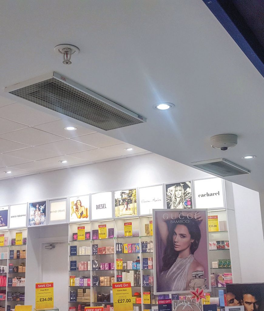 A pair of 3kW heaters welcoming customers in a shopping mall