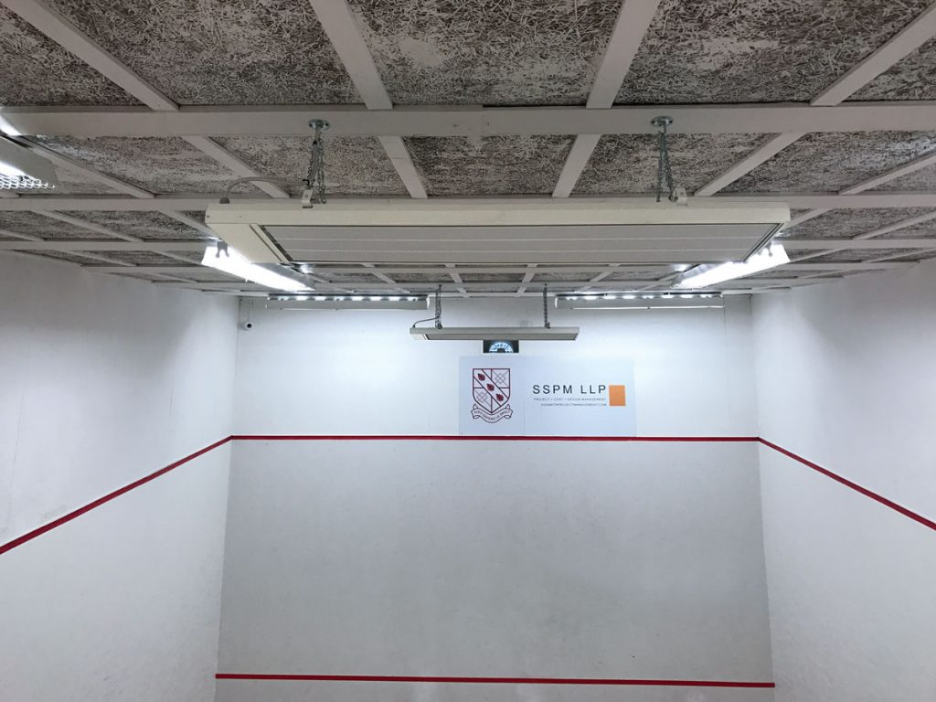 Radiant cassettes are ideally suited to squash courts