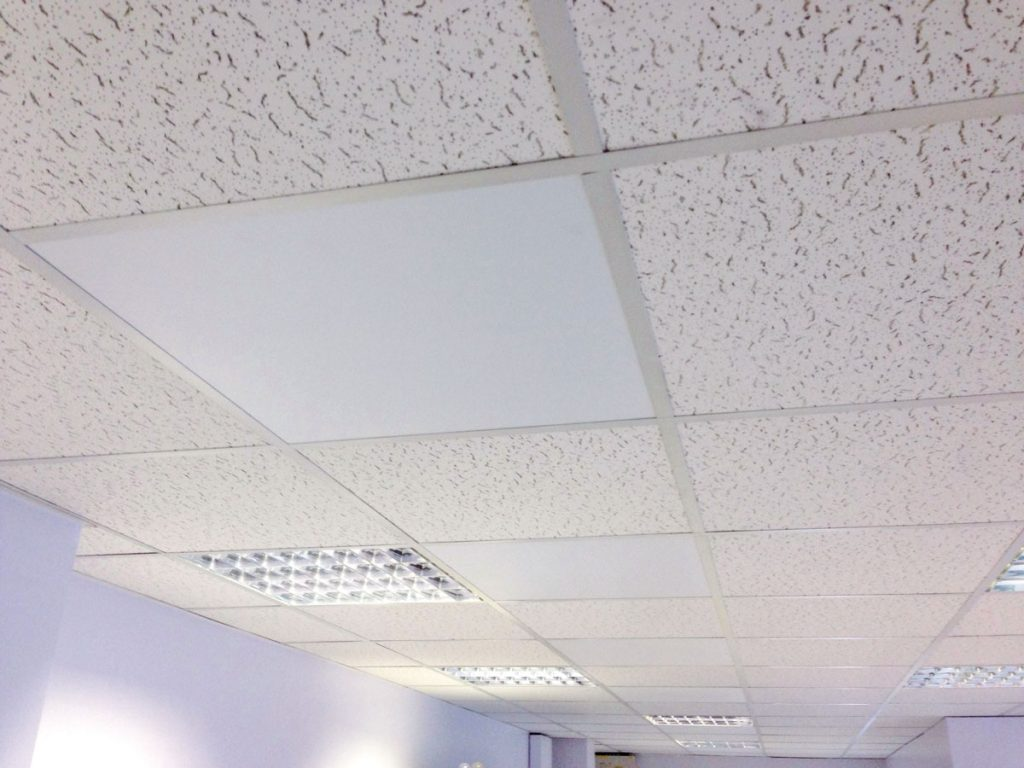 300W panels integrated into a suspended ceiling grid