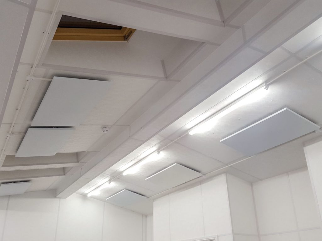 RP radiant panels ceiling mounted in a cricket pavilion