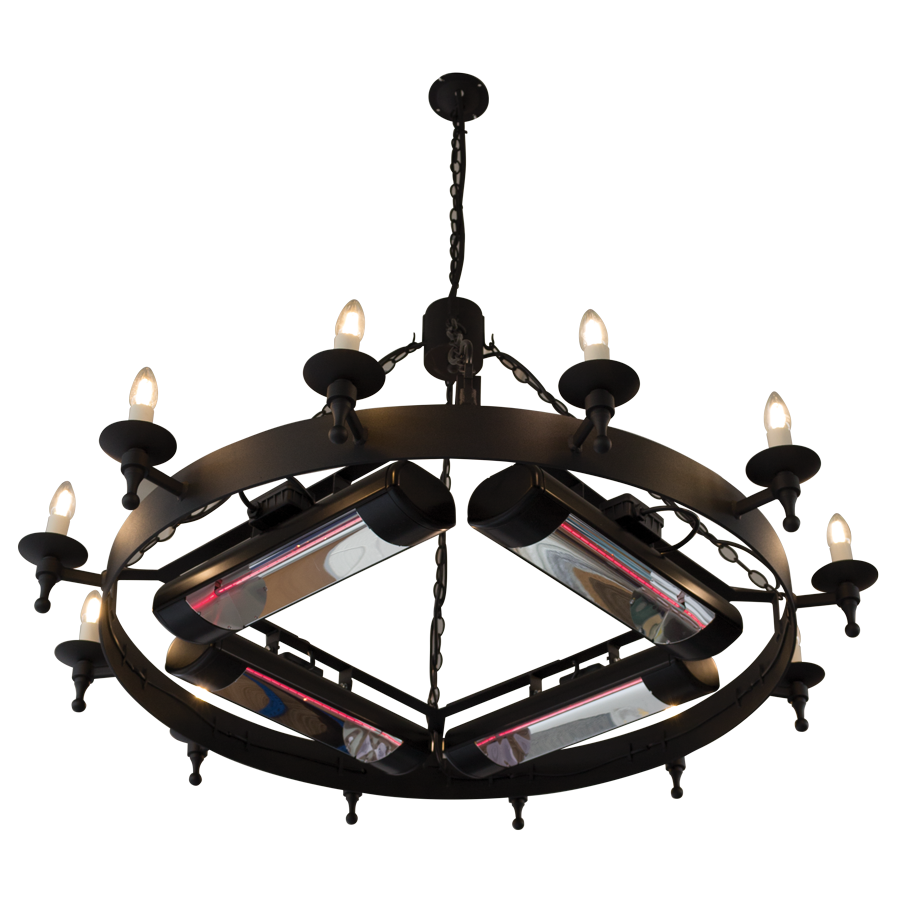 CM4 Heated Chandelier fitted with four Magic Lamp heaters