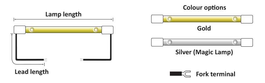 Lamps with flexible leads and SK15 caps