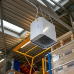 25kW heater providing comfort heat in a warehouse in Kent