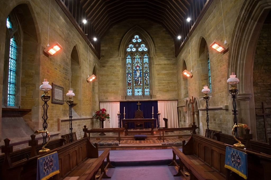 HN2-3000G shortwave heaters providing instant economical heating in St Stephen's Church, Barnet