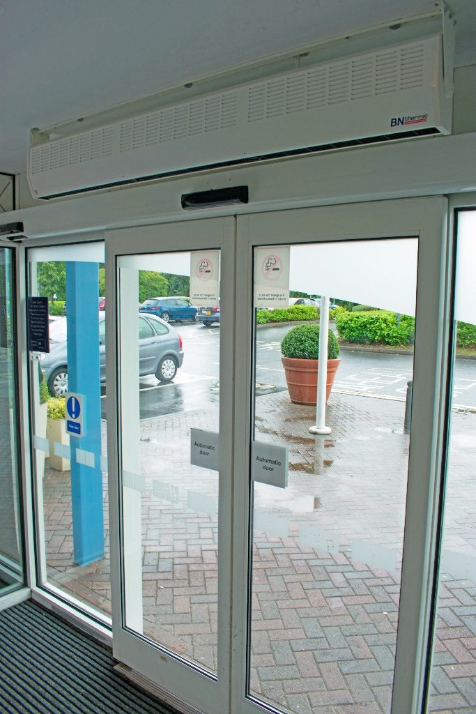 Two 3kW heaters over automatic doors