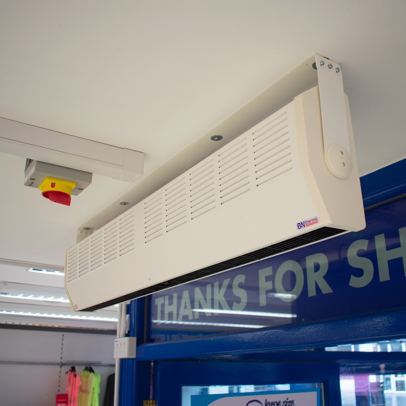 A 3kW heater keeping people warm in a clothing store