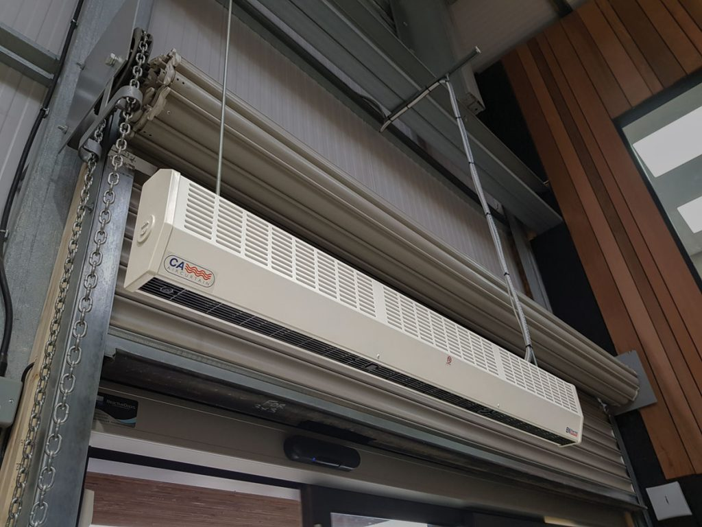 Commercial air curtains can be easily installed on drop rods or wall mounted using brackets provided